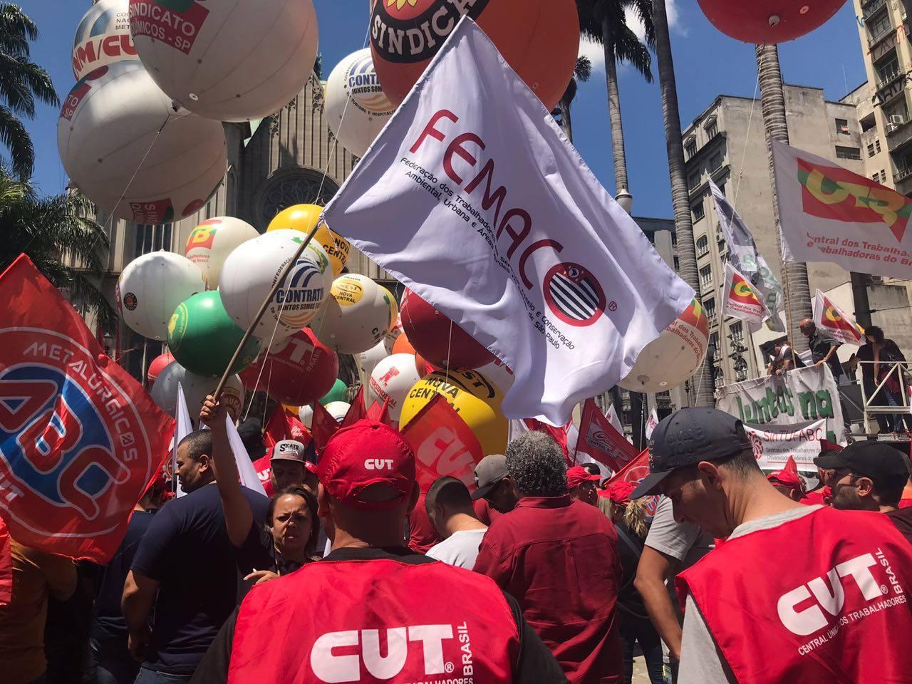 Siemaco ABC marca presença em manifestação contra a Reforma Trabalhista em São Paulo